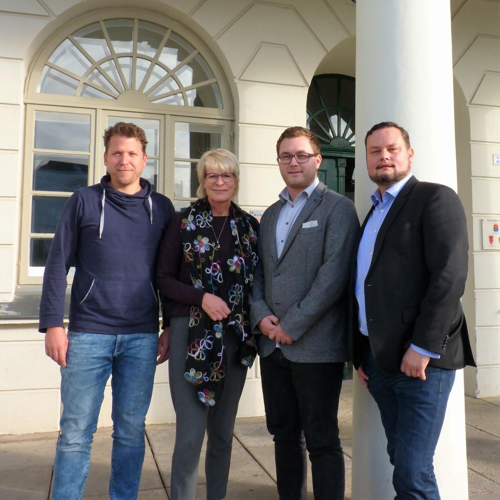 Vertreter des Bündnisses nach der Pressekonferenz: René Fuhrwerk, Sabine Mönch-Kalina, Hannes Nadrowitz, René Domke